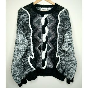 Vintage Chia Leather Patch Cable Knit Sweater